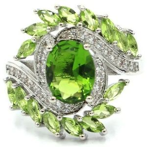 Gorgeous created Peridot silver filled ring